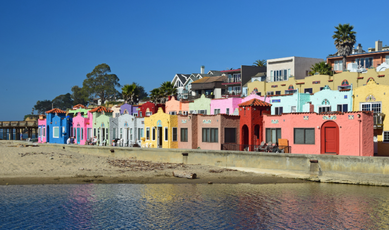 Colorful homes along the water in Monterey, CA.